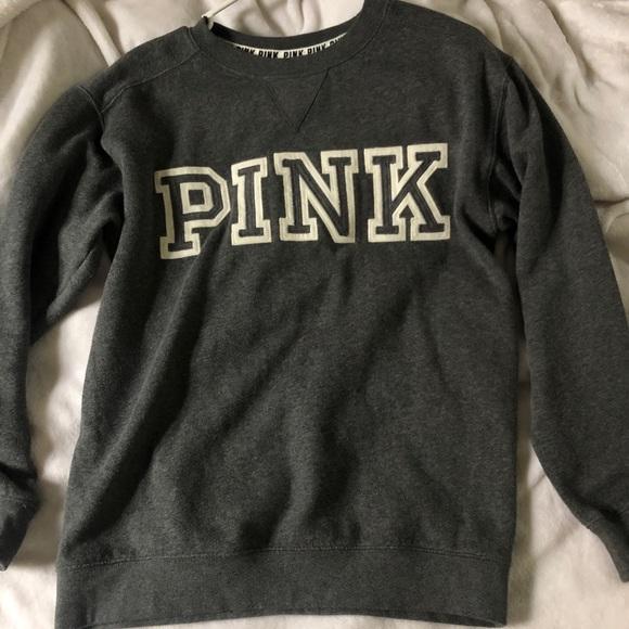 PINK Victoria's Secret Sweaters - VS PINK grey crew neck sweatshirt